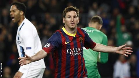 Barcelona's Argentinian forward Lionel Messi celebrates after scoring during the UEFA Champions League round of 16 second leg football match FC Barcelona vs Manchester City at the Camp Nou stadium.
