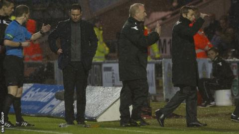 Derek Adams and Danny Lennon were banished to the stand following their angry spat