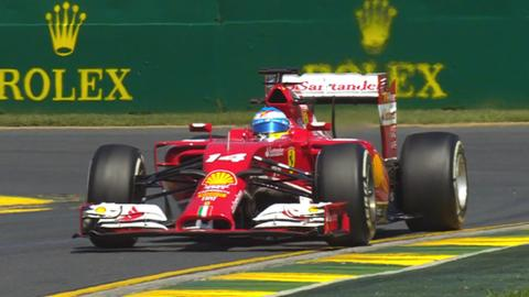 Ferrari's Fernando Alonso goes quickest in practice one at the Australian Grand Prix