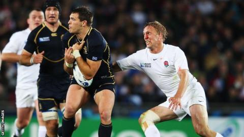 Lewis Moody (right) in action against Scotland