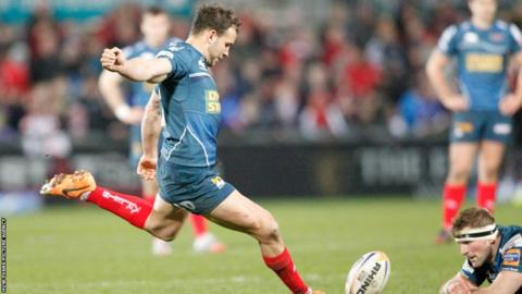 Olly Barkley scored two penalties and converted Gareth Davies' try as Scarlets lost 26-13 to Ulster.