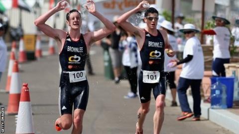 Alistair and Jonny Brownlee at Abu Dhabi triathlon