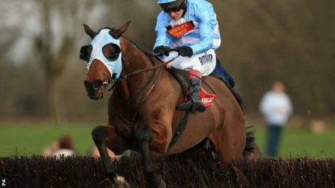 Goulanes, ridden by Richard Johnson, wins the Midlands Grand National