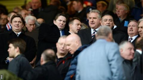 Members of the Rangers board in the stand at Ibrox