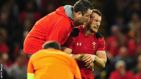 Sam Warburton receives treatment