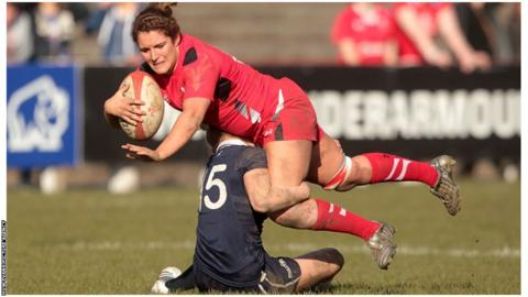 Wales' Catrina Nicholas is tackled by Scotland's Stephanie Johnson during the 25-0 Six Nations victory at the Talbot Athletic Ground