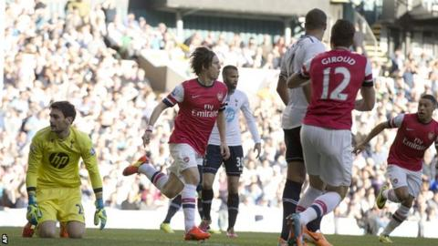 Arsenal's Tomas Rosicky after scoring against Tottenham