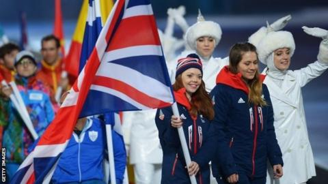 Jade Etherington and Caroline Powell enter the Paralympic closing ceremony