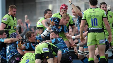 Exeter celebrate Chris Whitehead's opening try at Sandy Park