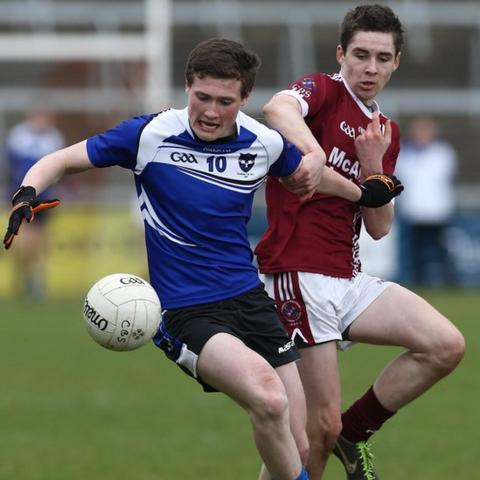 Jack Doherty of St Patrick's disputes possession with Omagh's Eoighain Murray during the 2014 MacRory Cup final