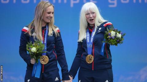 Kelly Gallagher (right) won gold with her guide Charlotte Evans