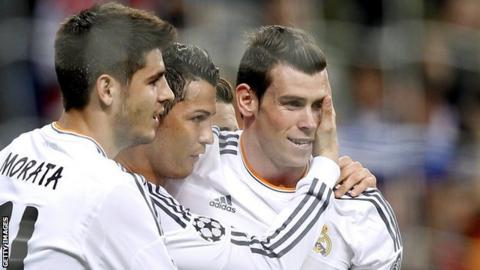 Gareth Bale (right) with Cristiano Ronaldo and Alvaro Morata