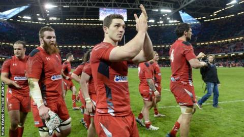 Wales players following the win over Scotland