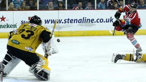 Craig Peacock blasts in Belfast's first goal in Friday's Challenge Cup Final first leg at the Odyssey Arena