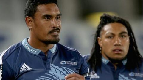 Jerome Kaino and Ma'a Nonu prepare to enter the pitch for the Auckland Blues against Cheetahs