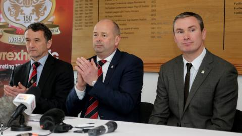 Chief executive Don Bircham (centre) is flanked by new Wrexham manager Kevin Wilkin (right) and the club's newly appointed football operations chief Barry Horne