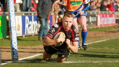 Tom Prydie crosses for a second half try for the Dragons, but the home side suffered a 8-24 defeat against Connacht.