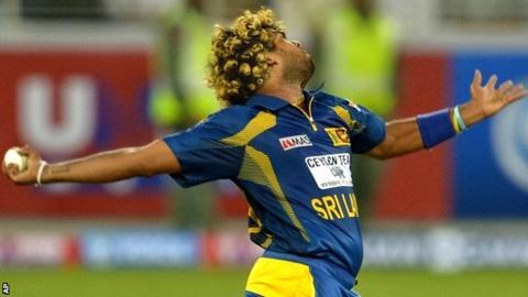 Lasith Malinga in action for Sri Lanka