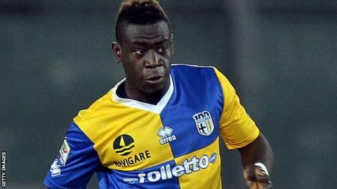 Afriyie Acquah in action for Parma against Livorno in a Serie A match in January