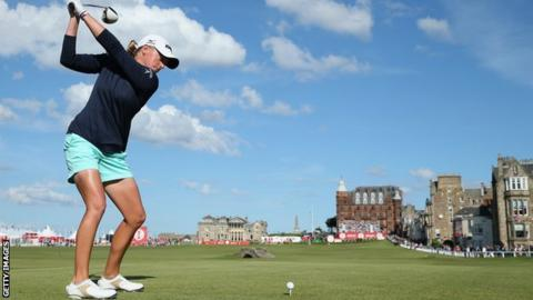 Stacy Lewis in action at the Ricoh Women's British Open at the Old Course, St Andrews