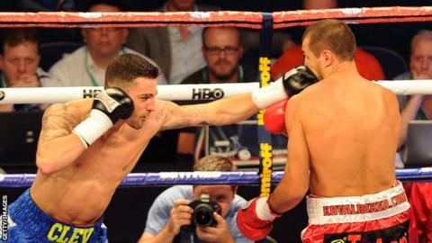 Nathan Cleverly lands a jab on Kovalev