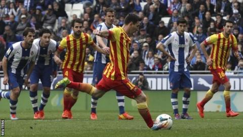 Lionel Messi scores for Barcelona
