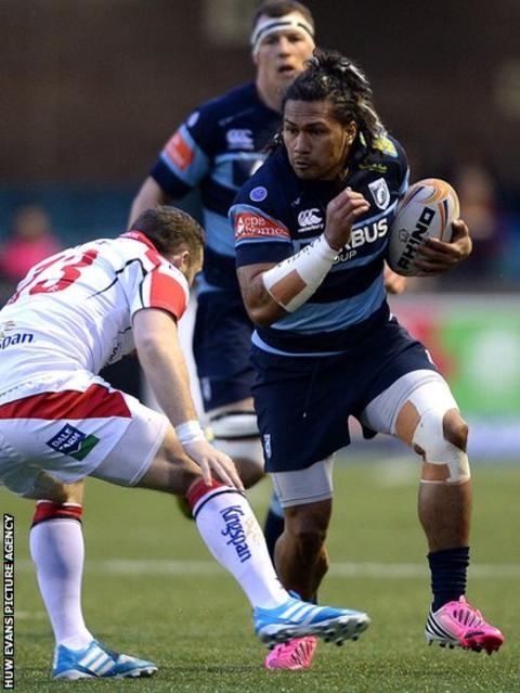 Cardiff Blues centre Isaia Tuifua takes on Ulster in the Pro12 at Cardiff Arms Park