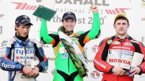 Guy Martin, Alastair Seeley and William Dunlop on the podium at the North-West 200