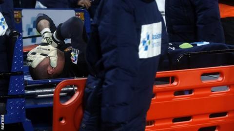 Barcelona goalkeeper Victor Valdes
