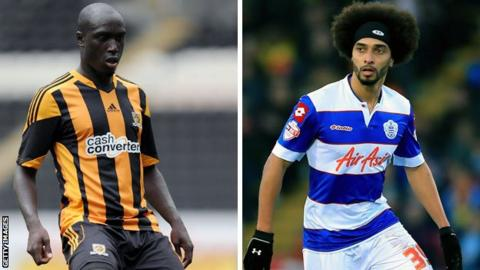 Hull's Yannick Sagbo and QPR loanee Benoit Assou-Ekotto