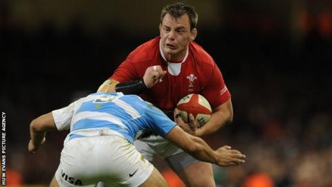 Matthew Rees in action for Wales
