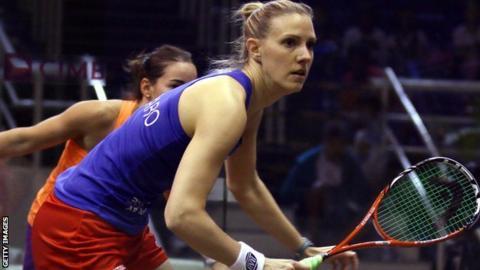 Laura Massaro in action at the World Championship
