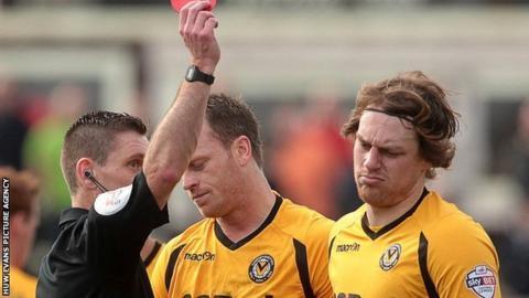 Newport's Adam Chapman is sent off against Portsmouth