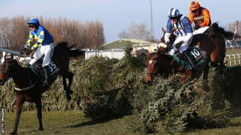 2013 Grand National: Auroras Encore clears the last fence ahead of Teaforthree