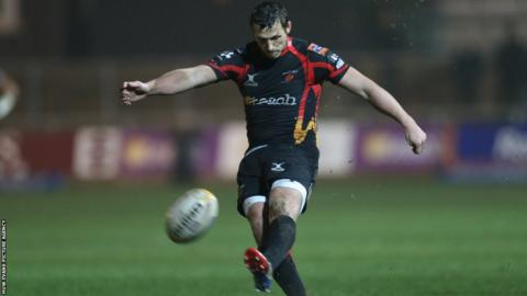 Jason Tovey converts Wardle's try but Dragons suffered a 23-19 defeat at home to Edinburgh.