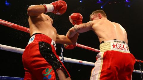 Cazares feels the full force of Frampton's powerful left hook in the second round