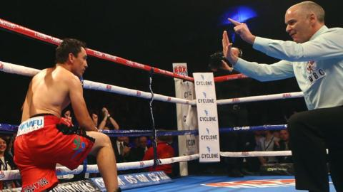 The Mexican appeared to mistime the 10-count and he suffered a first knock-out defeat since losing to compatriot Gerson Guerrero in October 1999