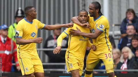 Jason Puncheon is congratulated by former Cardiff City striker Cameron Jerome (right) after giving Crystal Palace the lead at Cardiff City Stadium.