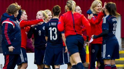 Scotland coach Anna Signeul celebrates with her players at Fir Park