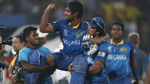 Kumar Sangakkara is carried on the shoulders of his team-mates after Sri Lanka's victory in the World Twenty20 final