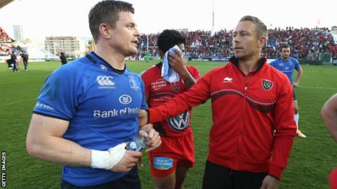 Brian O'Driscoll and Jonny Wilkinson pictured after the Heineken Cup quarter-final win for Toulon over Leinster