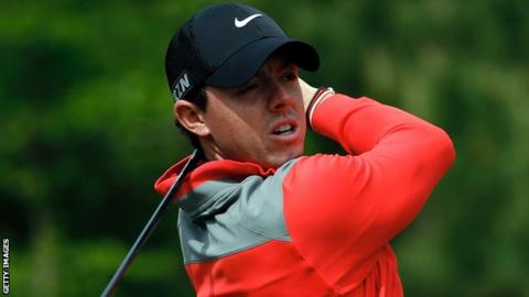 Rory McIlroy in action at the Houston Open