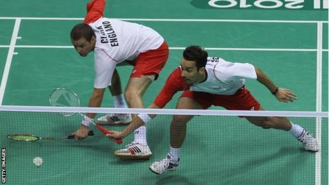 Nathan Robertson (right) with doubles partner Anthony Clark at the 2010 Commonwealth Games in Delhi