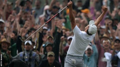 Adam Scott celebrates victory at the 2013 Masters
