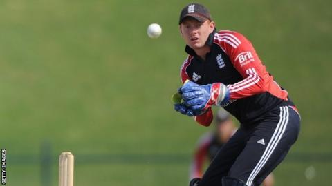 Jonny Bairstow keeping wicket for England Lions