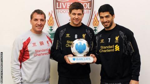 Brendan Rodgers, Steven Gerrard and Luis Suarez