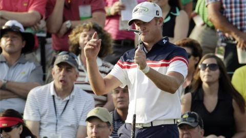 Jamie Donaldson shoots a two-under-par second round at the Masters in Augusta, making the cut comfortably and staying within six shots of leader Bubba Watson