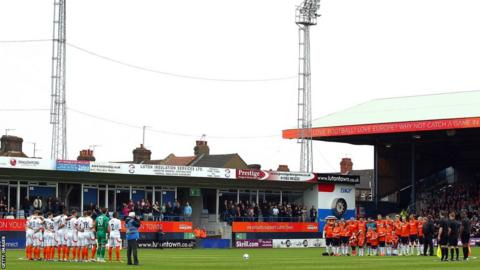 Games in the top eight divisions in England held a minute's silence before kick off, including Luton Town's Conference match with Braintree Town at Kenilworth Road