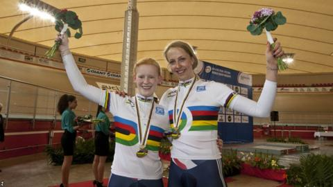 Sophie Thornhill (left) and her pilot, Wales's Rachel James, celebrate after taking gold in the women's kilo time-trials at the Para-cycling Track World Championships in Mexico