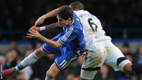 Oscar vies with Swansea City defender Ashley Williams in December, 2013